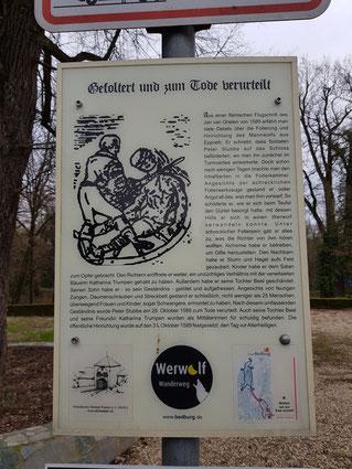 Gefoltert und zum Tode verurteilt, Werwolf Wanderweg, Schloss Bedburg, Hinrichtung