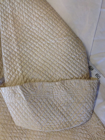C18th quilted bedgown, showing cuff. BATMC 97.18 (loan)