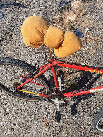 The not so comfortable bike with a pillow as a sattle