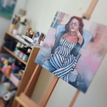 Rita Galambos Trust in yourself, fine artist, contemporary painting, hungary, woman, pink, modernart