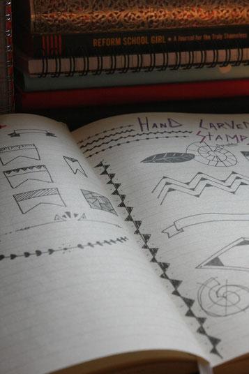 Mes collections, ici des idées de dessins à graver pour faire des tampons.