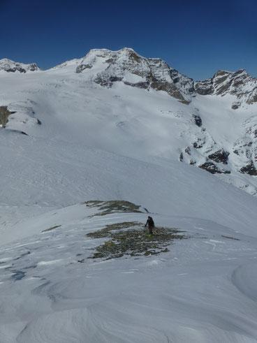 Skitour, Skihochtour, Piz Varuna, Engadin, Bernina, Schweiz, Gipfelhang, Südseite Piz Palü