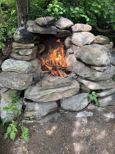 Feuerstelle, Giessen Camping Binntal