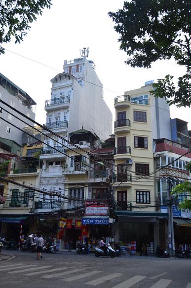 Typisch schmale Häuschen in Hanois Altstadt