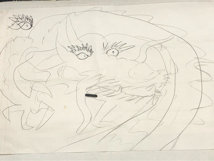 息子の絵 構想中の龍