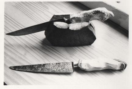 Couteaux manches grès cuisson Raku et Porte couteau  - Caco et Sylvie -