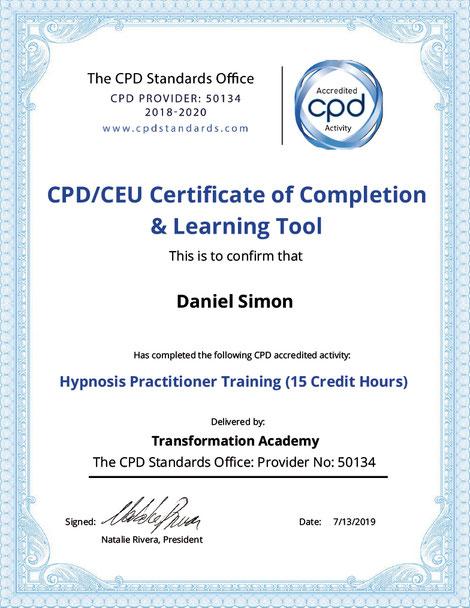 Zertifikat Transformation Academy Hypnosis Practitioner Daniel Simon