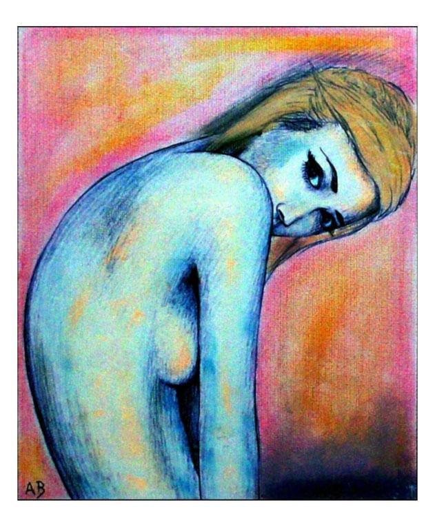 Frauenakt, Pastellgemälde, Frau, Erotik, Girl, Feminal, Pastellmalerei, moderne Malerei, Aktbild