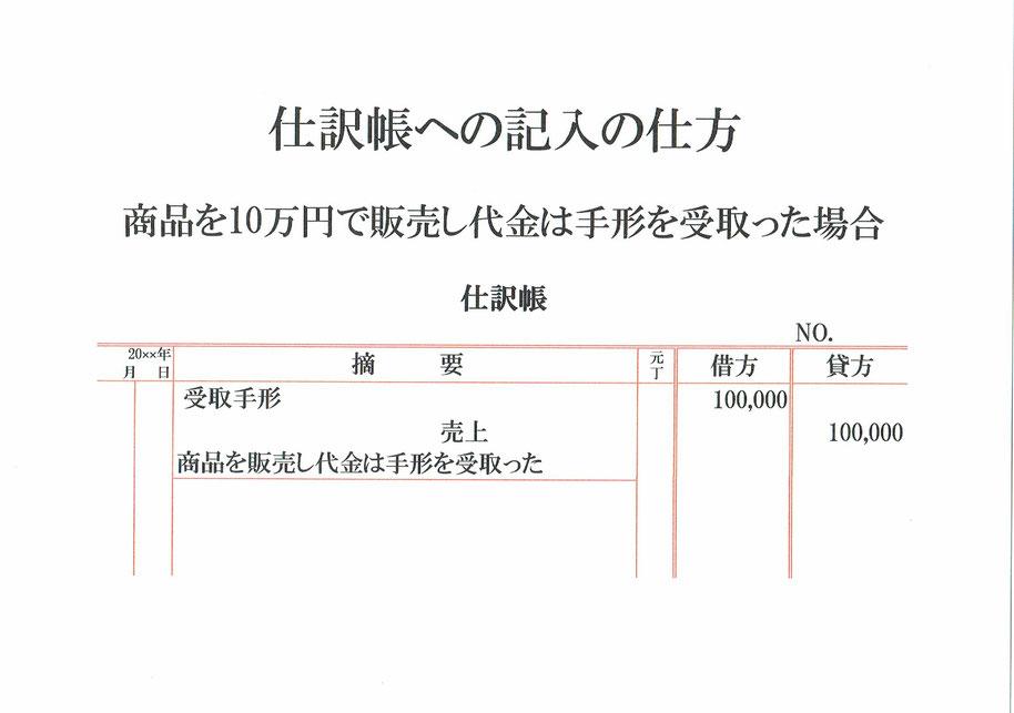 仕訳帳(受取手形・売上)