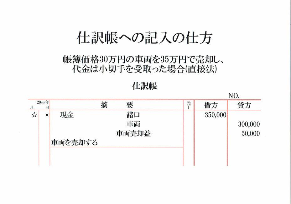 仕訳帳(現金・車両・車両売却益)