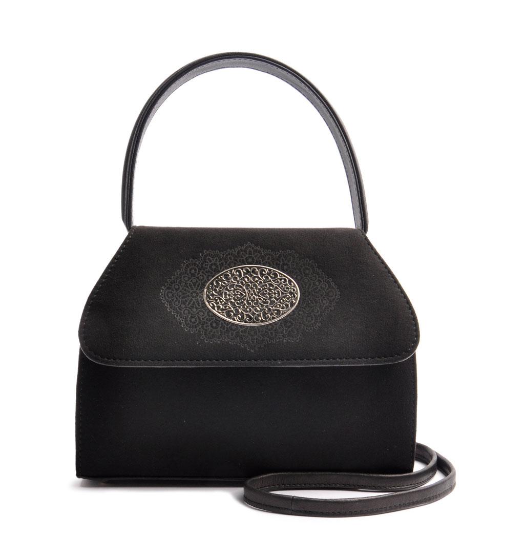 Edle Trachtentasche EMMA schwarz Handarbeit aus der  Ledermanufaktur OSTWALD Tradition