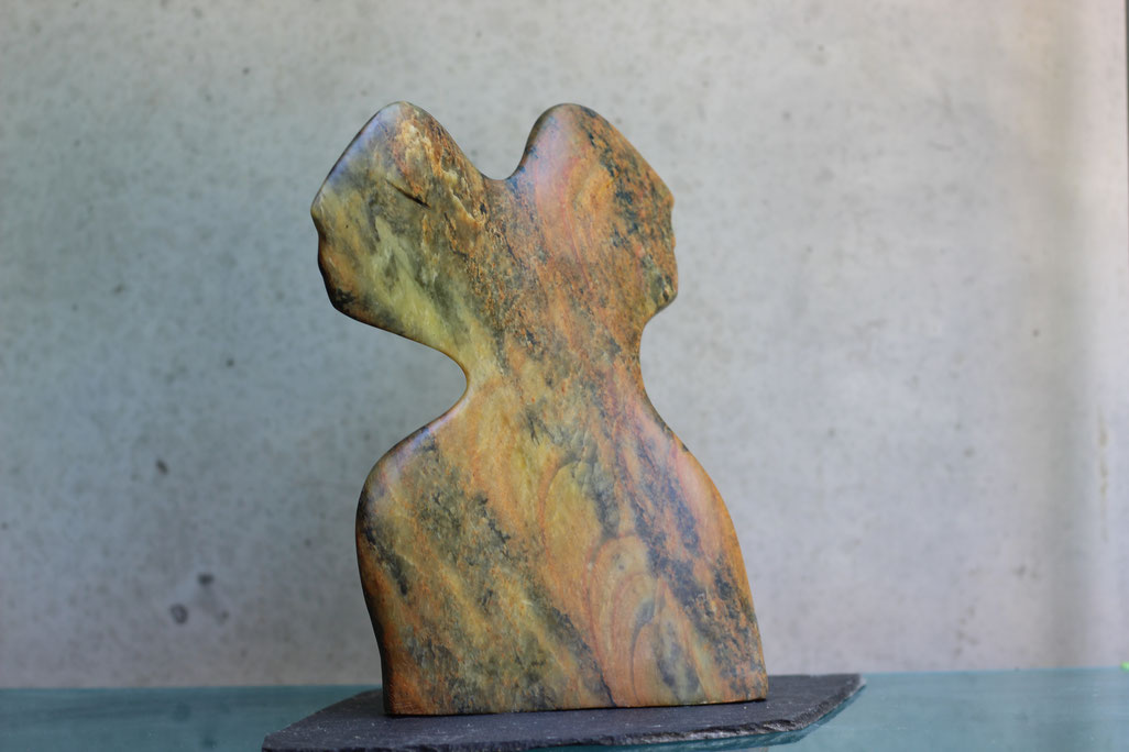 Heidrun Feistner: Zu zweit / Die malenden Steine / Stein / 28 cm / Foto HF