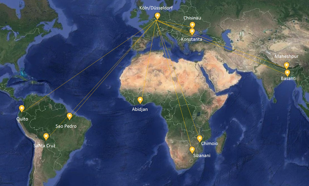 Weltkarte Projekte Hilfsaktionen