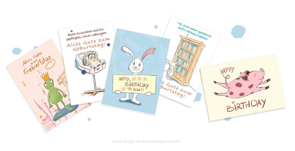Alles Gute zum Geburtstag - Happy Birthday - Karten - Text und Illustration Judith Ganter - Verlag Rannenberg & Friends