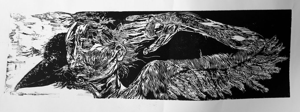 crôa  ( gravure sur contreplaqué, 41 sur 24.5 cm, 2013) & lien vers le blog où les gravures apparraissent chronologiquement et encore fraîches