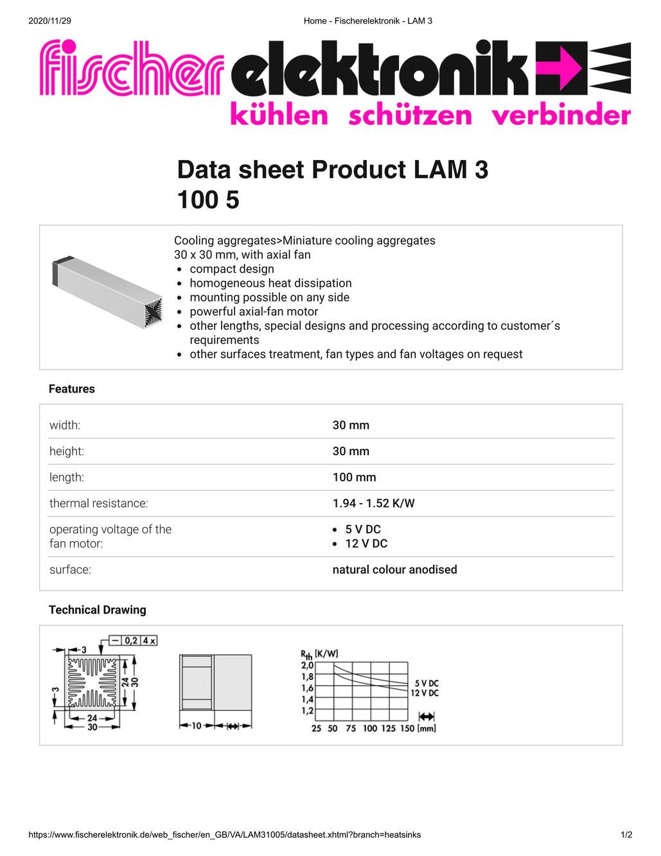 LAM 3 100 05 Fischer /フィッシャー 軸流ファン付 ヒートシンク