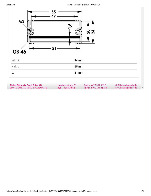 AKG 55 24 50 ME (W55mm x H24mm x L50mm) ミニチュアアルミケース