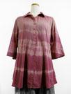 七分袖コットンチュニック  ~横段絞り染・赤紫色濃淡~