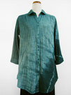 七分袖コットンシャツチュニック (斜め絞り染・青緑色濃淡)