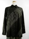 長袖コットンシャツ  ~黒色濃淡斜め絞り染~
