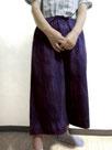 ワイドパンツ・八分丈  ~紫紺縦絞り染~