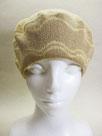 Sサイズ・ベレー帽   ~ベージュ・フラワーなライン~