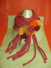 sciarpa in cordoncini di pura lana, lana merino, seta e cashmere