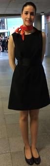 Vestido de noche negro con fajín