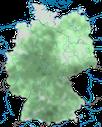 Karte zur Verbreitung der Wacholderdrossel in Deutschland während der Brutzeit.