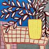 Gordon Hokins, peinture a l'huile, nature morte, pot de fleur sur une table avec une nappe à carreaux,  naive, style matisse