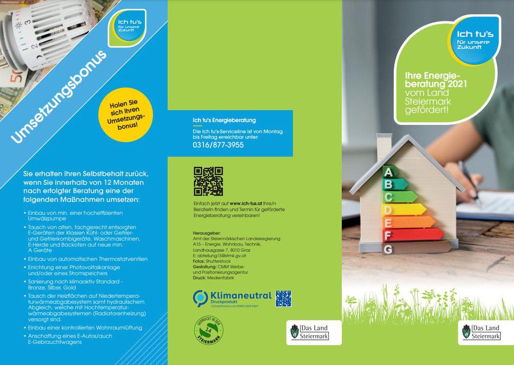 Folder Ich tu's Energieberatung | Informationen rund um Energie und Förderungen