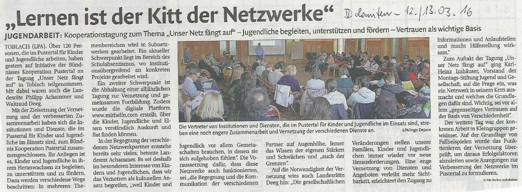 Bericht Dolomiten 12.-13.03.2016