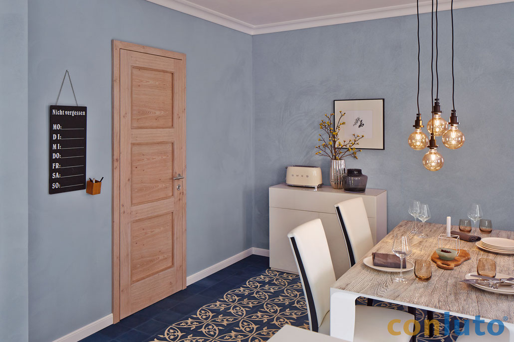 Esszimmer mit conlino Lehmedelputz blau