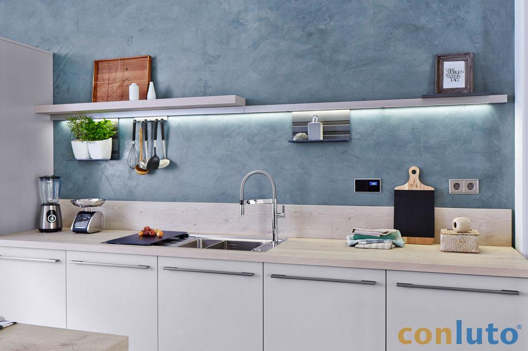 Küche mit Lehmglätte conluto / conlino Lehmputz
