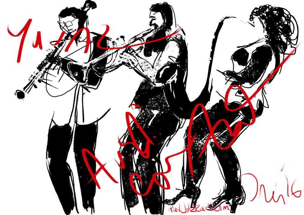 iPadJAZZart.com, The Jazz Cruise, jazz, The Three Cohens, Anat Cohen, Claire Iris Schencke artist