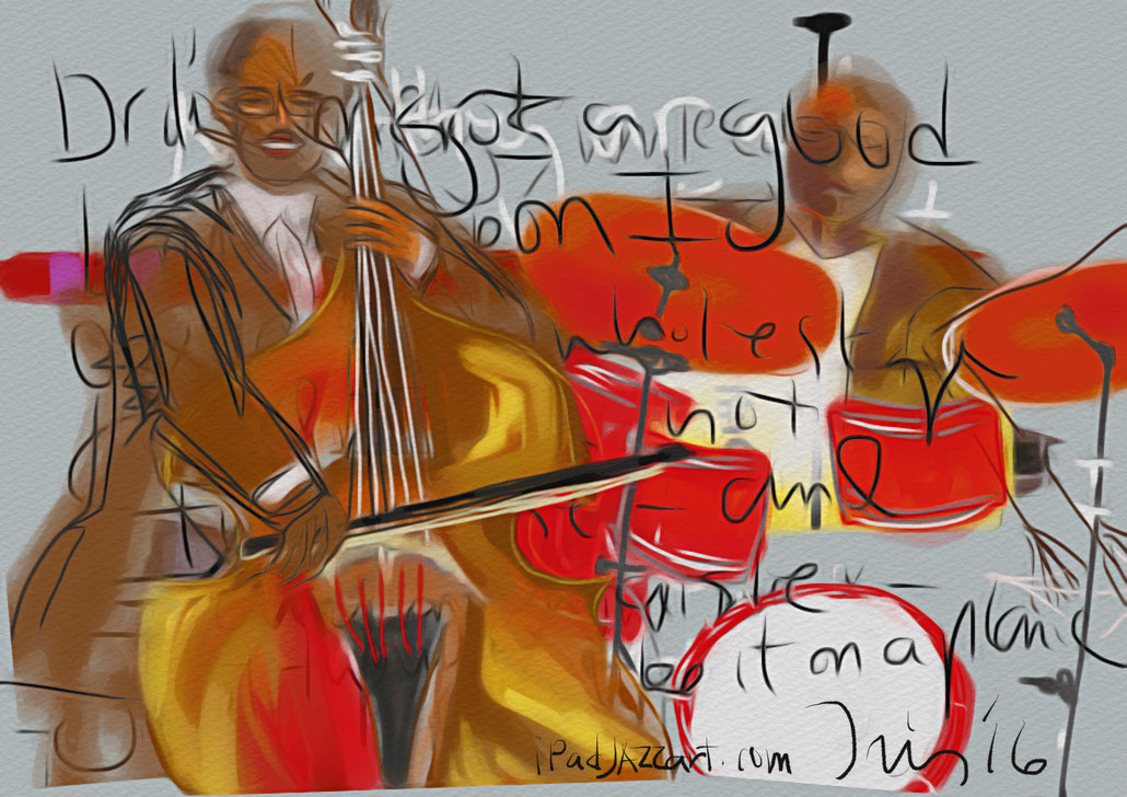Christian McBride, Bassist, Carl Allen, drums, The Jazz Cruise, iPad Pro, Procreate app, mobile digital art, Claire Iris Schencke mobile digital artist