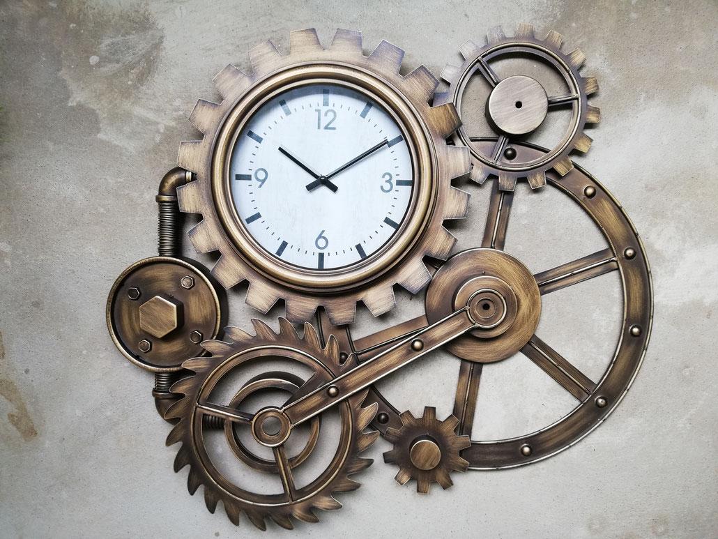 Steampunk Uhr Vintage Wanduhr Industrieuhr Zahnrad Eisenuhr Industrialuhr in bronze-messing Farben Zahnräder