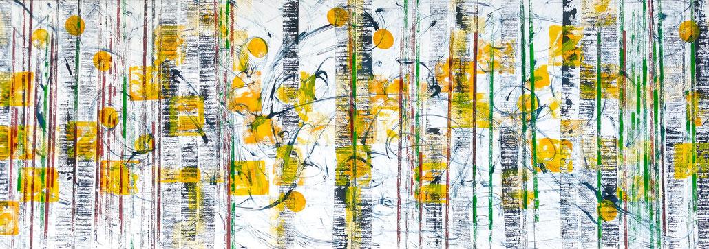 """Handdruck/Monotypie, Titel: """"Energiewende"""", Maße: 202 x 73,5 cm"""