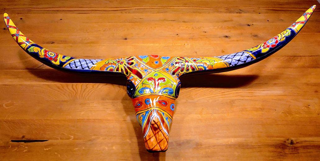 Keramik Stierkopf Longhorn aus Mexiko handbemalt