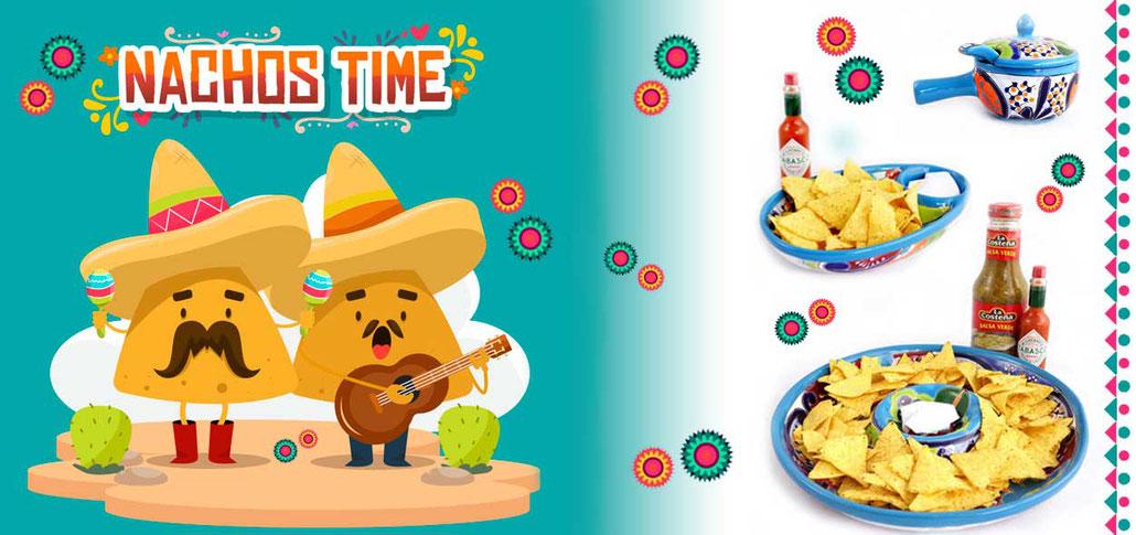 Bunte Tapas Schalen, Salstöpfe und Geschirr aus Mexiko.