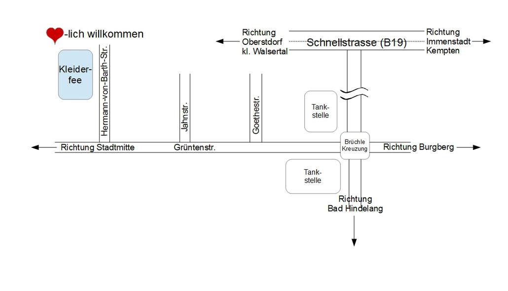 Anfahrtsplan zur Kleiderfee von Immenstadt, Kempten, Oberstaufen und auch von Oberstdorf dem kleinen Walsertal und Bad Hindelang