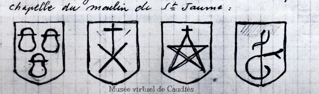 Relevé des Blasons par Auguste Cauneille, dans l'échauguette (Collection Pierrette Rieuvernet)