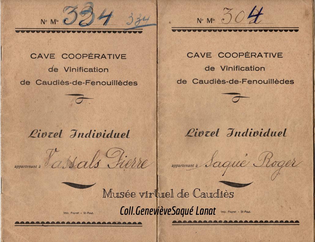 Livrets individuels - Récolte s 1962 à 1968
