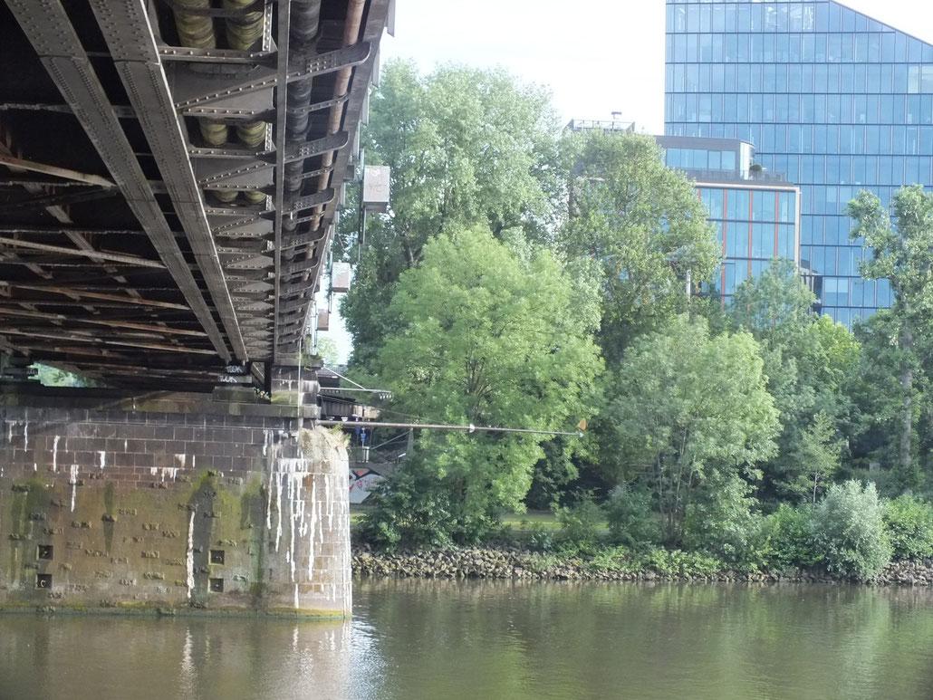 Deutschherrenbrücke (Eisenbahnbrücke) mit Blick auf das Sachsenhäuser Ufer