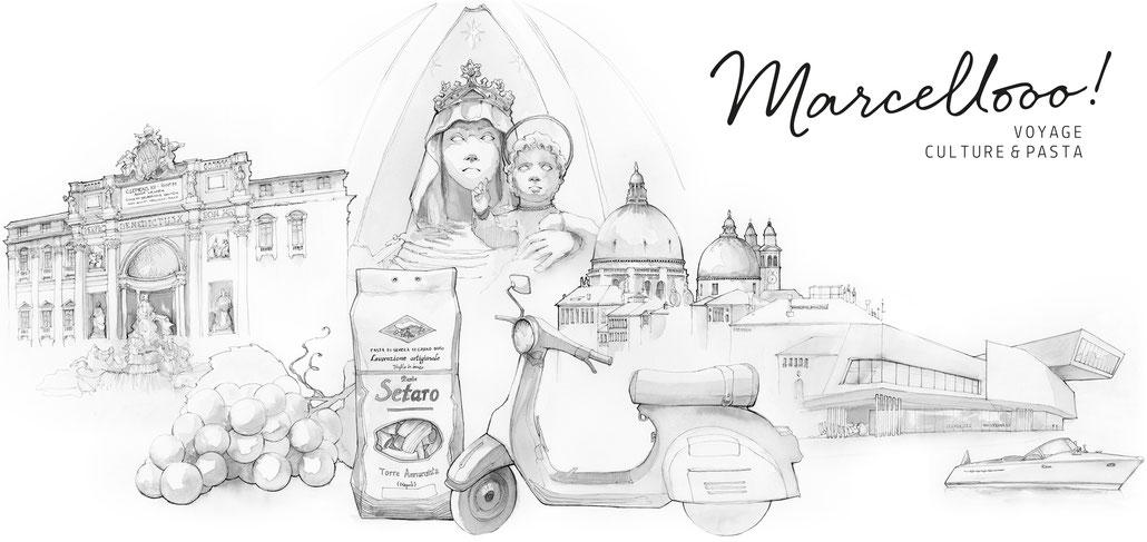 MARCELLOOO.FR Le Blog Voyage sur l'Italie Itinéraires Meilleures Adresses - Illustration par Jdan