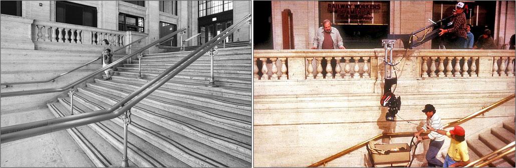 La scalinata della vecchia Union Station  e, sulla destra, una foto di scena col regista Brian De Palma mentre dirige le riprese della carrozzina che precipita lungo la scalinata.