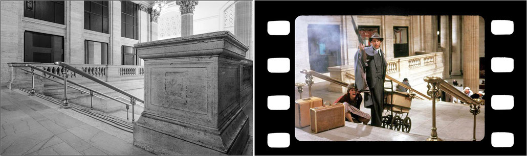 """La scalinata della vecchia Union Station di Chicago e, sulla destra, un fermo immagine della sparatoria del film """"Gli intoccabili"""" con Kevin Costner nel ruolo di Eliot Ness."""