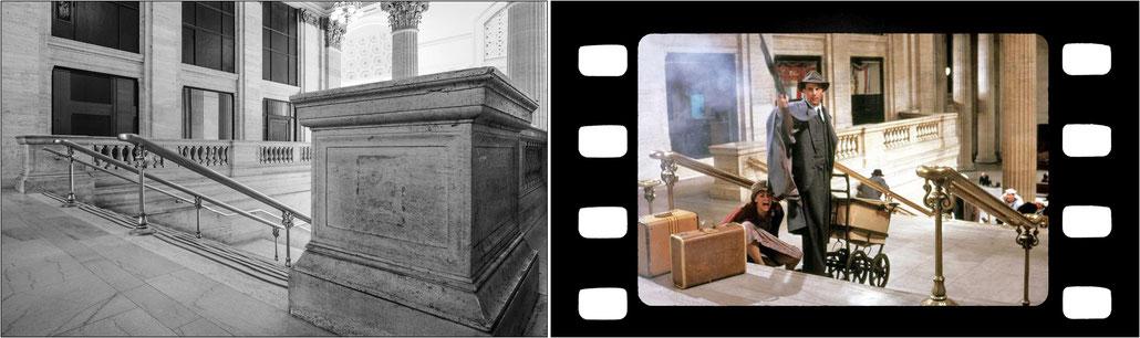"""A sinistra la scalinata della vecchia Union Station di Chicago come compare oggi. A destra la stessa scalinata in un fermo immagine della sparatoria nel film """"Gli intoccabili"""" con Kevin Costner nel ruolo di Eliot Ness."""