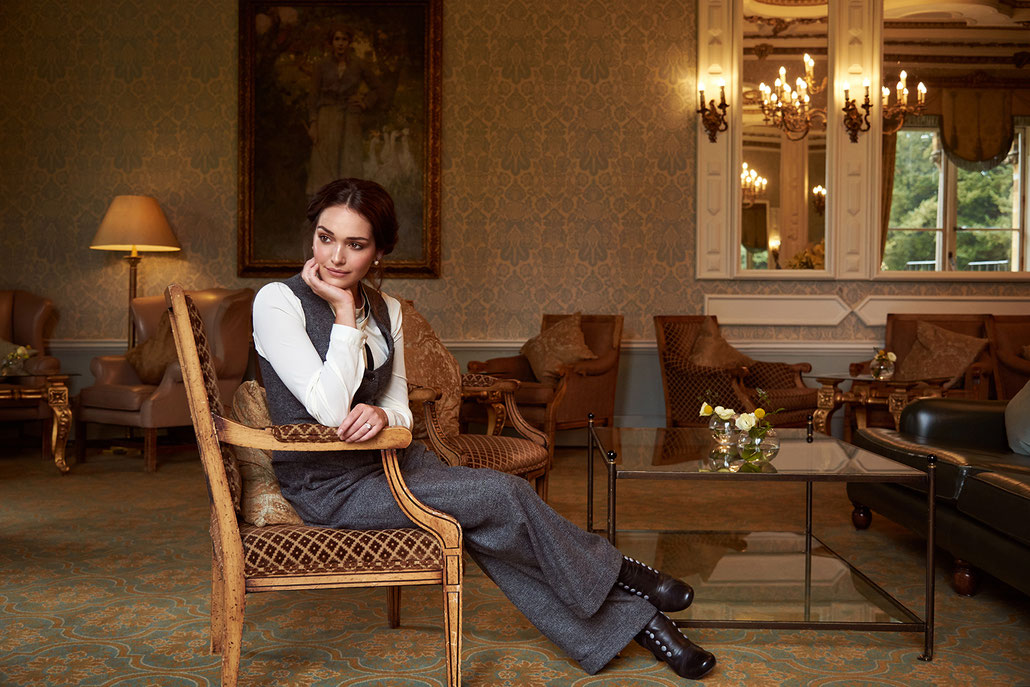 British style editorial with model Amber Martinez, vintage photographer Yvonne Sophie Thöne, at Ettington Park Hotel, Stratford-Upon-Avon, clothing Vecona Vintage