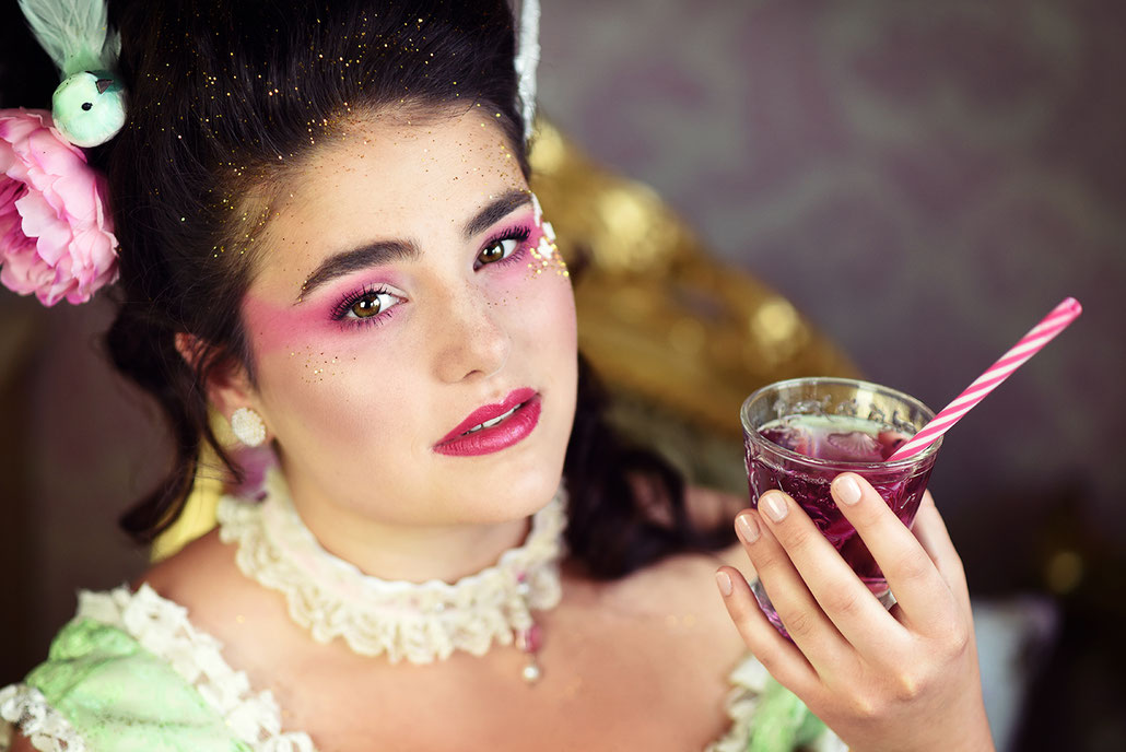Portrait im Vintage-Stil: Marie Antoinette mit Limonade, Make-Up von Hanna Göbel